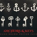 anchors and keys vector illustrations