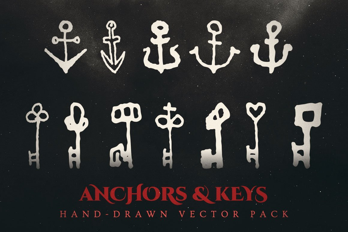 anchors and keys vector illustrations