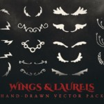 wings and laurels vector pack