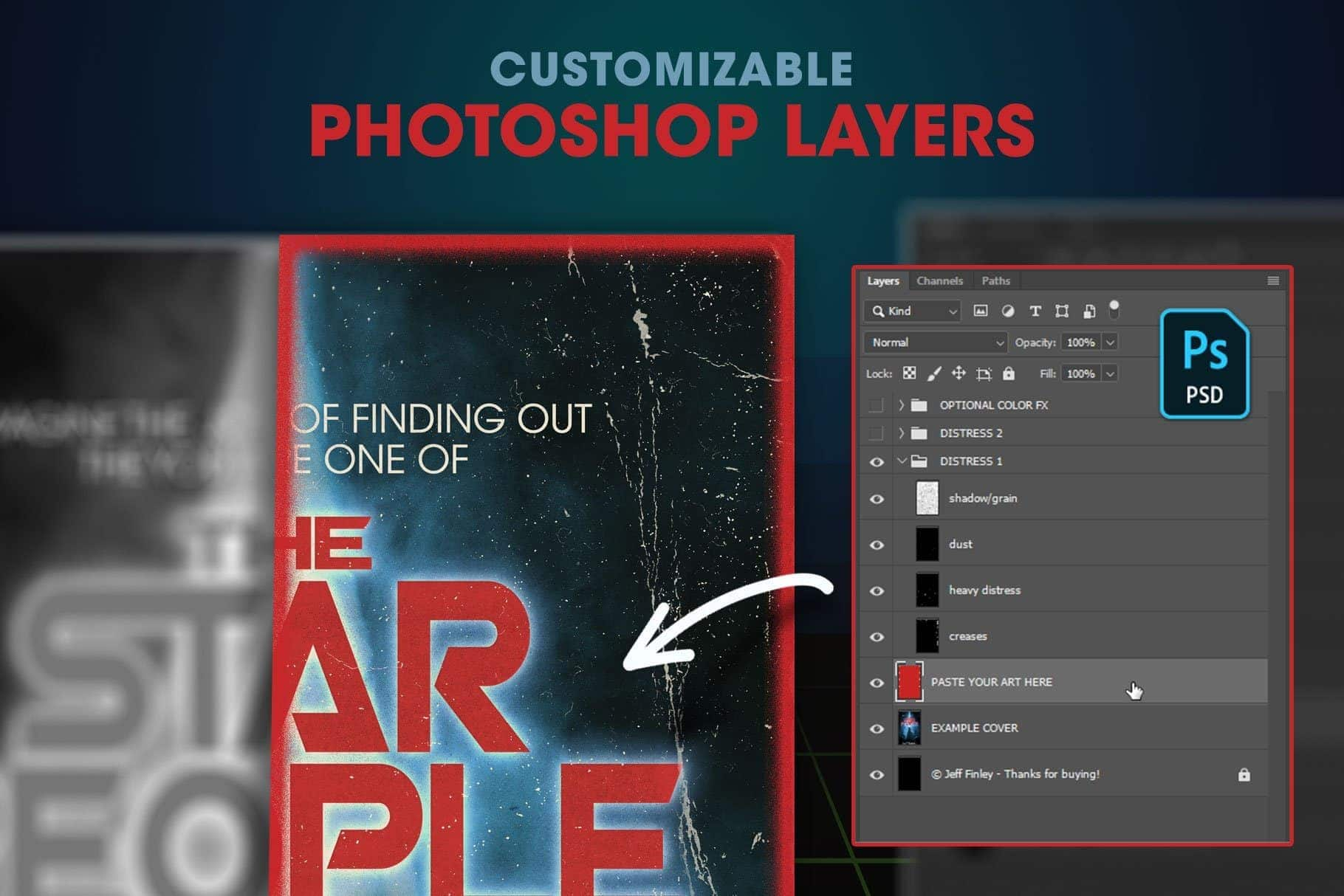 customizable photoshop layers for worn paperback textures